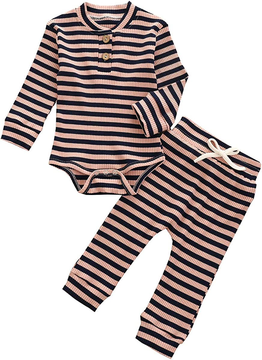 Unisex Baby Pajamas, Baby Girl Boy Clothes Solid Long Sleeve Romper Bodysuit Tops Pants 2PCS Outfit Set