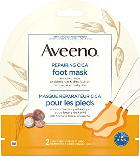 Aveeno Repairing CICA Foot Mask with Prebiotic Oat and Shea Butter, Dry Skin Moisturizer, 2 Single Use Slippers (1 pair)
