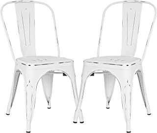 Poly and Bark Trattoria Kitchen and Dining Metal Side Chair in Distressed White (Set of 2)