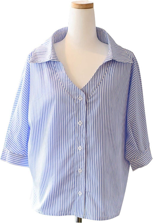 Spring Autumn Fashion Women Striped Blouse Shirts Lady Three Quarter Sleeve Tops Female Clothing