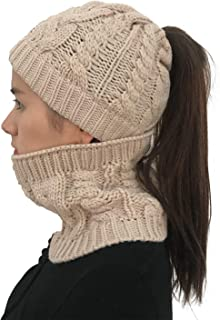 Womens Beanie Knitted Ponytail Hole Solid Ribbed Hat Cap with Scarf for Cold Winter