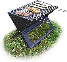Relaxdays, Negro Barbacoa portátil con Parrilla de carbón y Rejilla, Plegable, Pícnic y Camping, 30x45,5x30cm, 30 x 45.5 x 30 cm