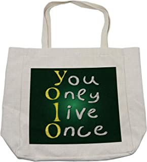 Ambesonne YOLO Shopping Bag, School Board Theme Background with Chalk Style Meaningful Riveting Words, Eco-Friendly Reusable Bag for Groceries Beach and More, 15.5