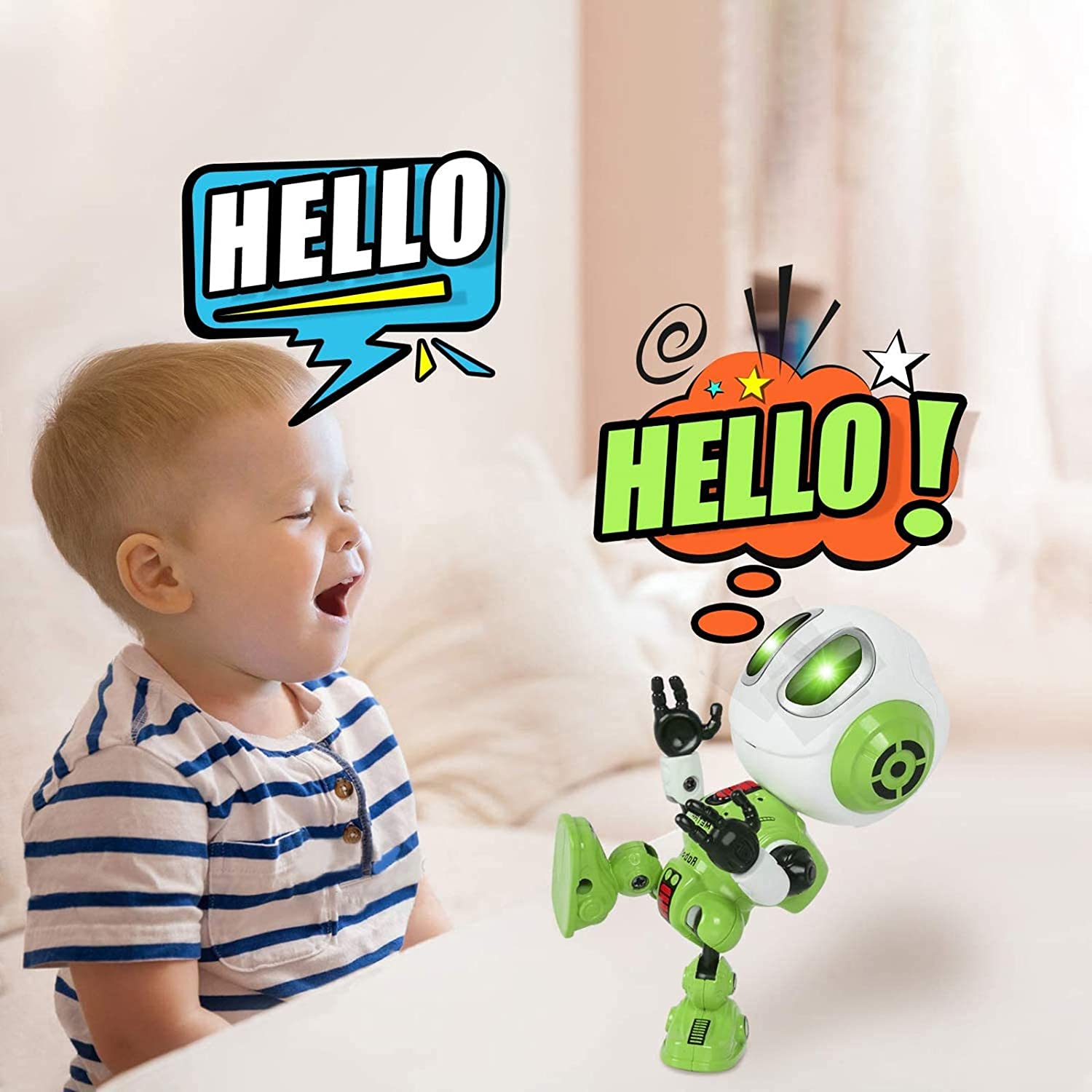 MING YING 66 Talking Robot for Kids Toys Green Toys for 2 3 4 5 6 7 8 Year Old Girls and Boys,Christmas Toys for Age 2+ Boys and Girls Gift Mini Robot Toys That Repeats What You Say