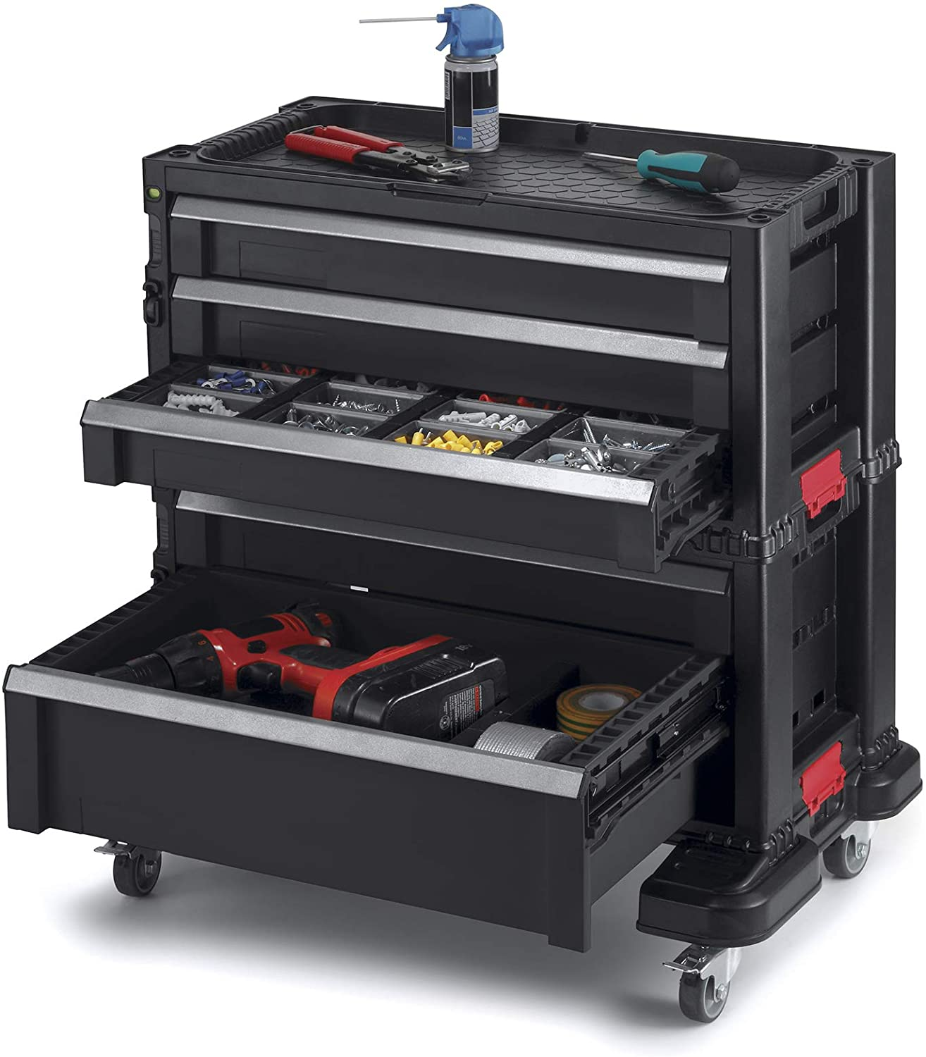 Keter Drawers, Locking System 20 Removable Bins Perfect Organizer  Automotive Tools for Mechanics and Home Garage, Kunststoff, schwarz