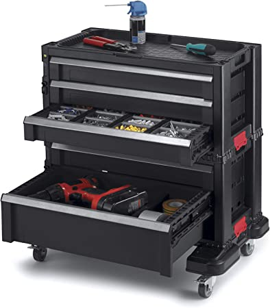 Keter Rolling Tool Chest with Storage Drawers, Locking System and 16 Removable Bins-Perfect Organizer for Automotive Tools for Mechanics and Home Garage , Black: image
