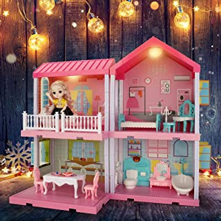Dollhouse Dreamhouse Building Toys, Princess Doll House, Playset with Lights, Furniture, Accessories and Dolls, Cottage Pr...