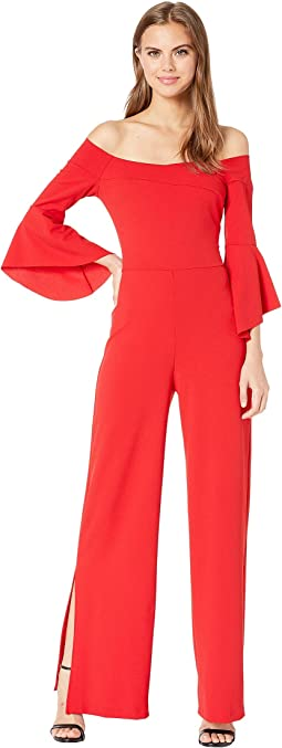 Off the Shoulder Bell Sleeve Jumpsuit with Slit
