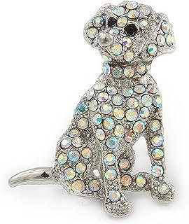 AB - Broche de cristal para perro (metal, 35 mm)