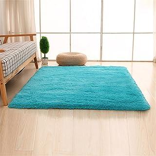 CAMAL Alfombras, Lavable Material de Lana de Seda Artificial Alfombra Decorativo Sala de Estar y Dormitorio (80cmX120cm, Azul)