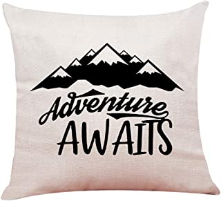 "Muminglong Camping Mountain Pattern with The Motivational Quote Adventure Awaits Pillow Covers,Throw Pillow Cover Cushion Case Cotton Linen Material for Sofa Couch Room Décor 18""x 18""Inch"