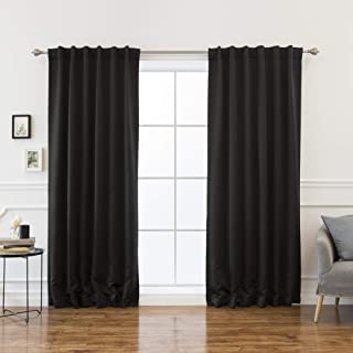 Best Home Fashion Basic Thermal Insulated Blackout Curtains - Back Tab/Rod Pocket - Black - 52
