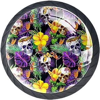 Tiradores redondos decorativos con diseño de flores exóticas 4 unidades con tornillos para muebles armarios aparadore...