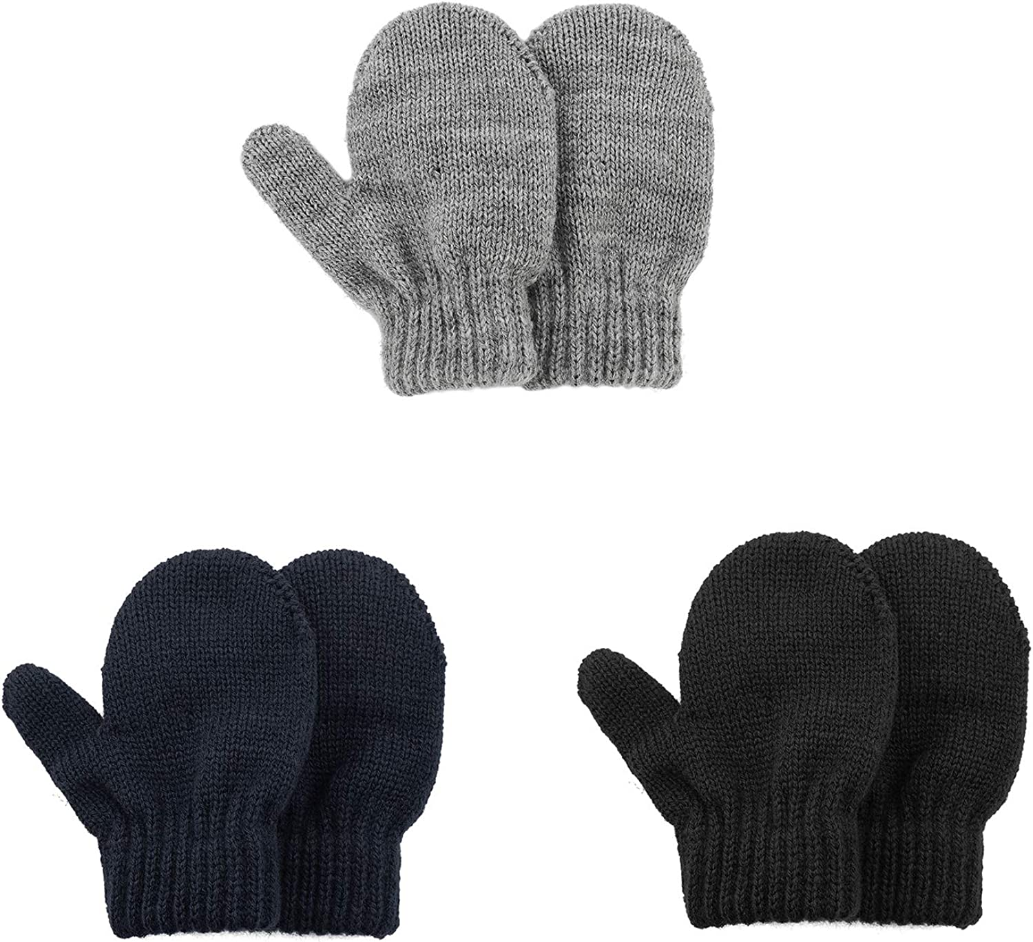Kids Winter Toddler Mittens Multicolor Soft Knitted Gloves Thick Cold Protection Mitten Color Set 2