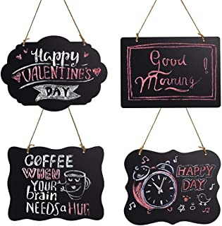 Homemaxs Chalkboard Sign Double-Sided Message Board with Hanging String - 4 Pack