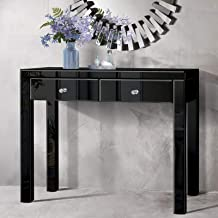 Artiss Mirrored Glass Console Table Dressing Table for Hallway Entryway Bedroom, Black