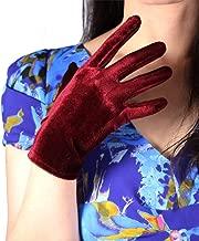 DooWay Touchscreen Dark Red Burgundy Velvet Gloves Opera Evening Long Stretchy Velours Flannel