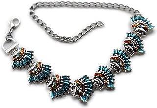 TFJ Women Western Fashion Jewelry Boot Bracelet Metal Chain Shoe Native Indian Face Charm Blue