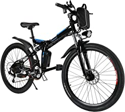 Hindom Folding Electric Mountain Bike,26 Inch Wheel, Full Suspension with Gear,Removable Lithium-Ion Battery (US Stock)