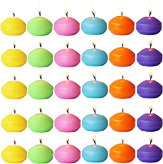 YUCH Unscented Floating Candles – Set of 30, 6 Color Floating Candles – Cute Elegant Burning Candles – Candles Nice Smooth Flame – Party Accessories