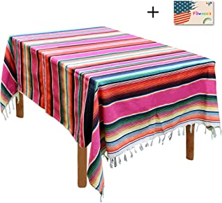 59 x 84 Inch Mexican Serape Blanket Tablecloth for Mexican Party Wedding Decorations Outdoor Picnics Dining Table, Large Square Fringe Cotton Handwoven Table Cloth