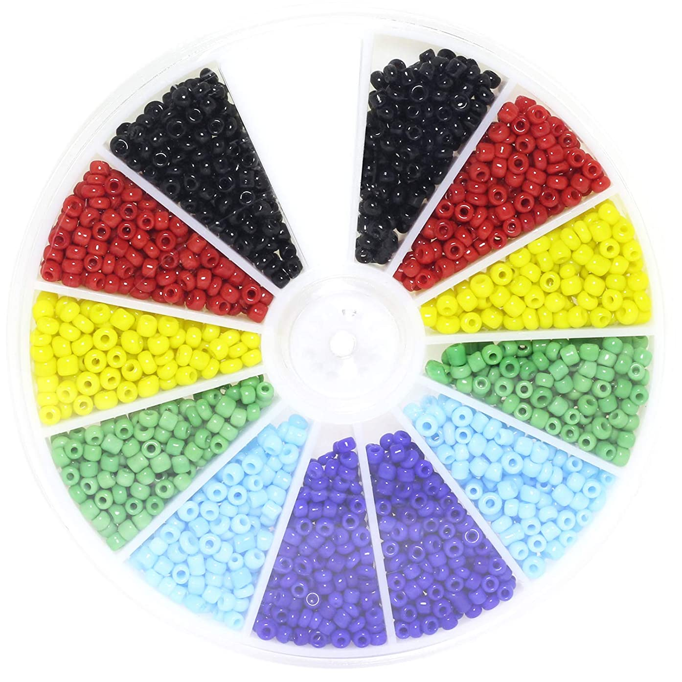 Lind Kitchen 1000pcs Mini Glass Beads DIY Handmade Jewellery Beading Fittings Loose Seed Spacer Beads 2mm 6-Color Mixed (Black, Red, Yellow, Green, Light Blue, Dark Blue)