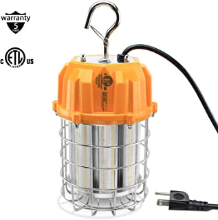60W Led Temporary Work Light, 9000 Lumen High Bay Work Light (650W Equiv)5000K LED Construction Lights with Stainless Steel Guard & Hook, LED Portable Job Site Light for Indoor Outdoor Lighting