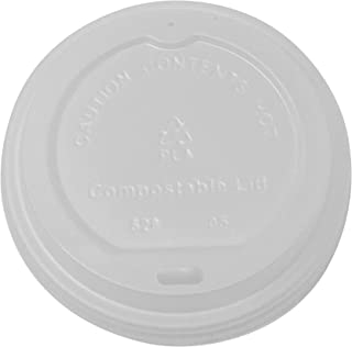 BioGreenChoice Compostable Cornstarch, CPLA Disposable Lid for 12-20oz Compostable Hot Paper Cups | Microwave Safe, Biodeg...