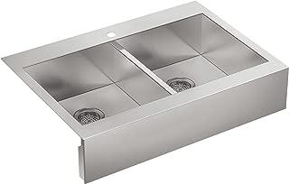 KOHLER Vault Double Bowl 18-Gauge Stainless Steel Farmhouse Apron Front Single Faucet Hole Kitchen Sink, Top-mount Drop-in Installation K-3944-1-NA