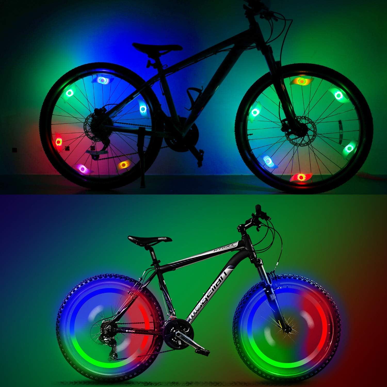 luces de rueda para llanta QKURT 8 luces para radios de bicicleta seguridad y advertencia. luz utilizada para decoraci/ón de radios de bicicleta resistente al agua
