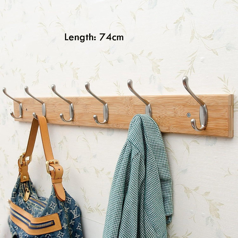 Coat Rack Wall-Mounted Coat Rack, Bedroom Solid Wood Wall Hook, Natural Bamboo Wall Frame, Wall Decoration Frame
