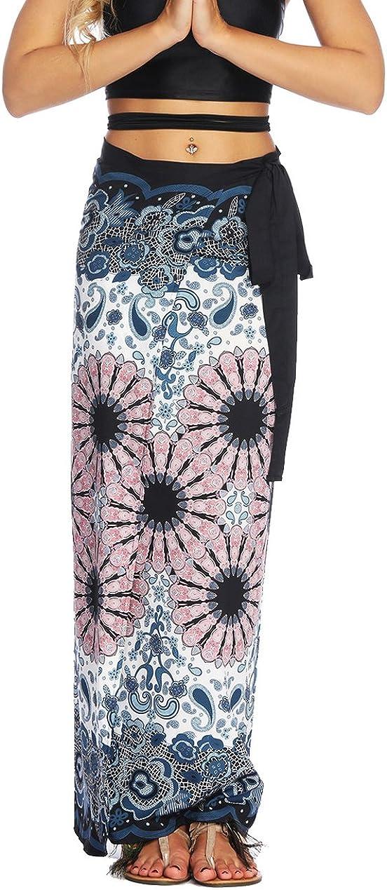 Women's Boho Bohemian Hippie Skirt Long Maxi Print Wrap Skirt Cover up Maxi Asymmetrical Summer Beach Skirt One Size