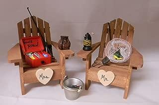 Wedding Party Mr Mrs Fishing Adirondack Chairs Cake Topper
