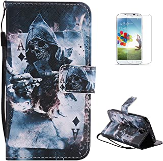 Samsung Galaxy S4/9500 Flip Leather Case KaseHom [Free Screen Protector], Folio Magnetic Cartoon Pattern Premium PU Wallet Cover with [Card Slots] [Kickstand] Protective Holster Magician Poker