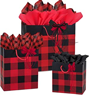 Gift Bags, Assorted Sizes, Bundled with Coordinating Tissue Paper and Raffia Ribbon (Red Black Plaid)