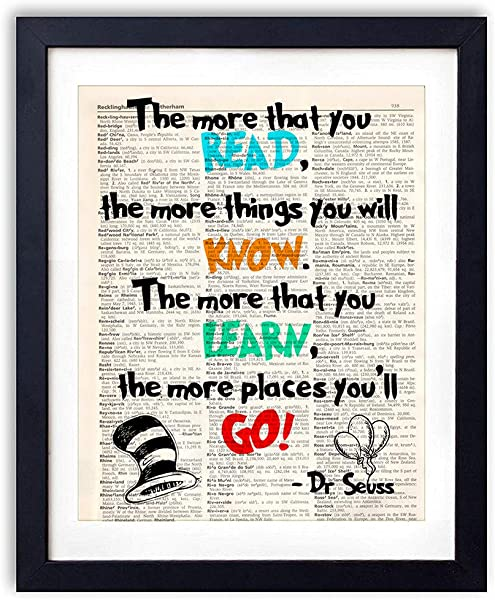 Akeke Dr Seuss Quotes And Sayings Vintage Book Art Prints 8 X10 Unframed Motivational Inspirational Dr Seuss Gifts Wall Decor For Kids Bedroom Children School