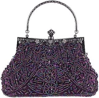 TWTAI Vintage Heavy Crafts All Handmade Beaded Embroidered Bag Evening Wear Portable Evening Bag Classic Cheongsam Perfect Match Bride Bag Bridesmaid Bag (Color : Purple)