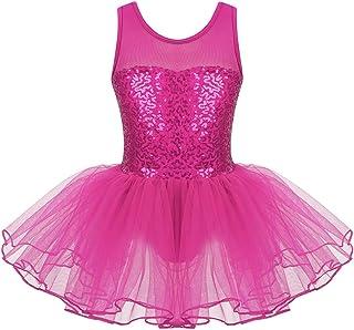 iixpin Vestito Pattinaggio Artistico Bambina Chiffon Senza Maniche con Strass Vestito Tutu da Balletto Costume Ballerina Danza Classica Dancewear per Gara
