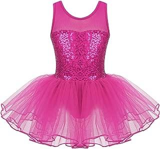 iixpin Vestito Ballerina Bambina da Pattinaggio Artistico Paillettes Top Chiffon Tutu Danza Classica Balletto Principessa Abito da Ballo Latino Samba Rumba Tango