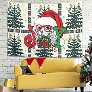 Zhenxinganghu Christmas Animal Happy - Tapiz Decorativo para Pared con Arte Natural, poliéster, Blanco, 200x150cm