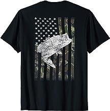 American Camouflage USA Flag Bass Fishing Fisherman on Back T-Shirt