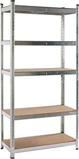 KitHome Étagère de Rangement 5, 180 x 90 x 40 cm, 175 kg par étagère, galvanisée et MDF, GALVA 5B9040175K, métal/Argent