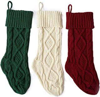Aicos Alacos Christmas Knit Stockings, 3 Pack, Red White Green Gift Socks Holders (18
