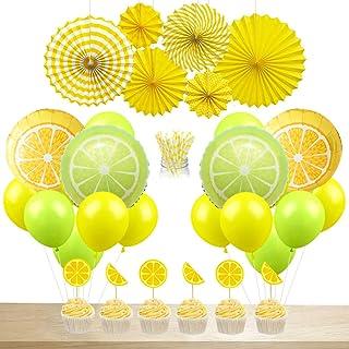 JOYMEMO Lemon Party Decorations Lemonade Balloons Paper Straws Cake Topper Hanging Paper Fans for Summer Birthday Party Ba...
