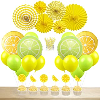 JOYMEMO Lemon Party Decorations Lemonade Balloons Paper Straws Cake Topper Hanging Paper Fans for Summer Birthday Party Baby Shower