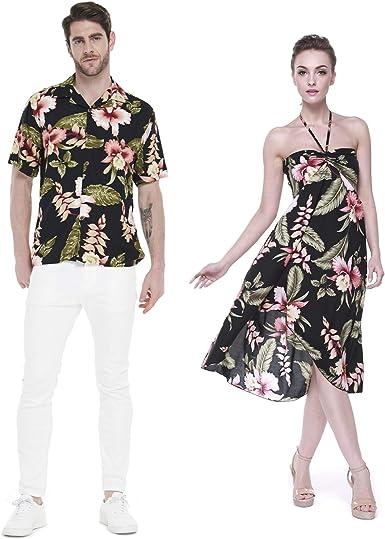 Hawaii Hangover Pareja Juego Hawaiano Luau Fiesta Traje Conjunto Camisa Vestido de Negro Rafelsia