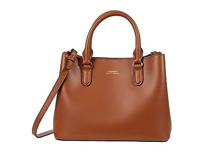 LAUREN Ralph Lauren Marcy II Satchel (Lauren Tan/Monarch Orange) Handbags
