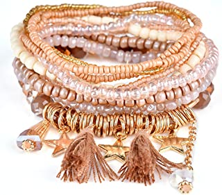 Bohemian Stretch Multilayer Stackable Bracelets,Colorful Bead Crystal Beach Bangle for Womens Girls Adults Men Children Gifts