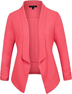 Michel Women's 3/4 Sleeve Blazer Light Weight Chiffon Casual Open Front Cardigan Jacket Work Office Style with Plus Size