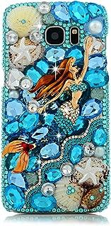 Galaxy S7 Edge Case - Mavis's Diary Luxury 3D Handmade Bling Crystal Mermaid with Shiny Blue White Diamond Glitter Rhinestone Gems Ocean Design Clear Hard PC Cover for Samsung Galaxy S7 Edge (2016)